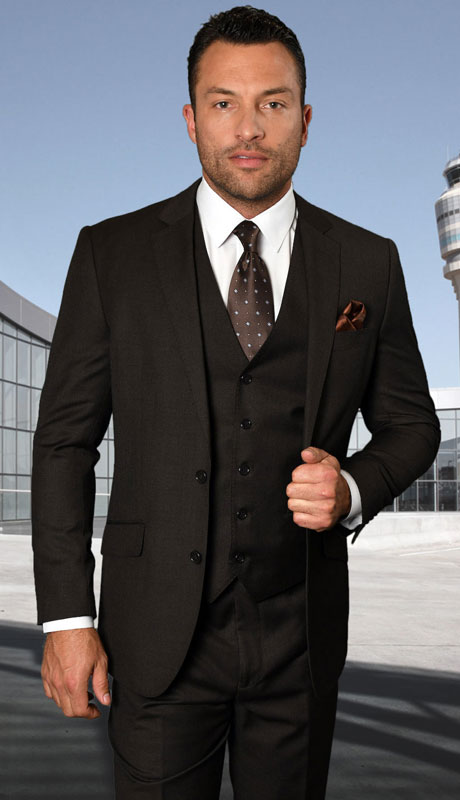 STZV-762-BR ( 3pc Tailored Suit With Fit Flat Front Pants Super 150's )