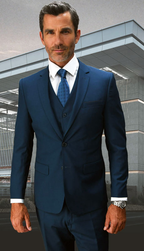 LORENZO-SA ( 3pc Slim Fit Suit With Flat Front Pants Super 150's )