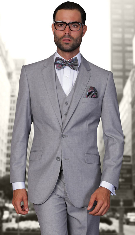 STZV-100-GR ( 3pc Tailored Suit With Fit Flat Front Pants Super 150's )