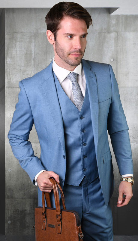 STZV-100-ST ( 3pc Tailored Suit With Fit Flat Front Pants Super 150's )