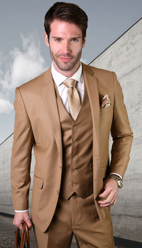 STZV-100-CA ( 3pc Tailored Suit With Fit Flat Front Pants Super 150's )