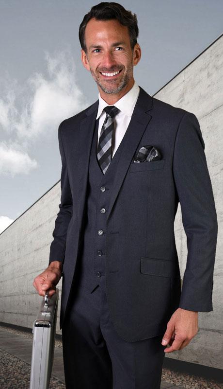 STZV-100-DE ( 3pc Tailored Suit With Fit Flat Front Pants Super 150's )