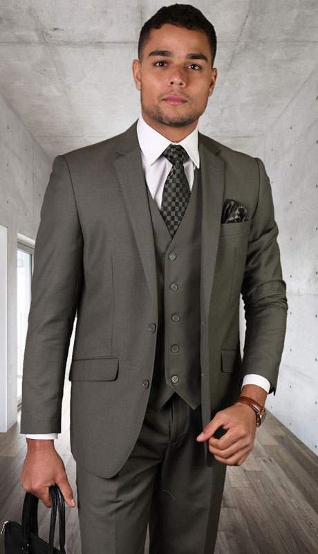 STZV-100-SA ( 3pc Tailored Suit With Fit Flat Front Pants Super 150's )