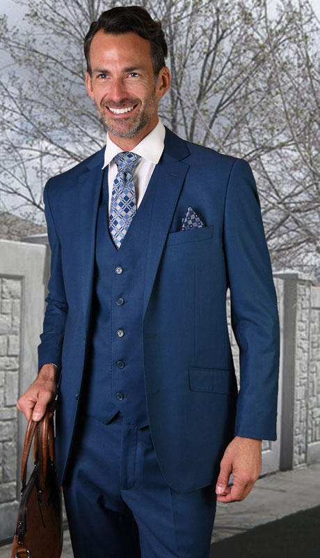 STZV-100-FB ( 3pc Tailored Suit With Fit Flat Front Pants Super 150's )