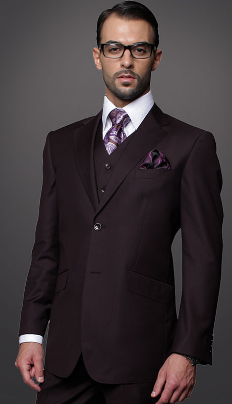 STZV-100-EG ( 3pc Tailored Suit With Fit Flat Front Pants Super 150's )