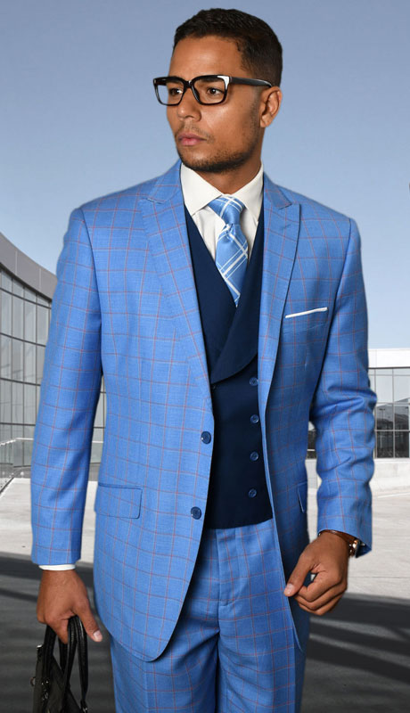 BEVERLY-BL ( 3pc Regular Fit Suit With Pleated Pants, Super 150's )