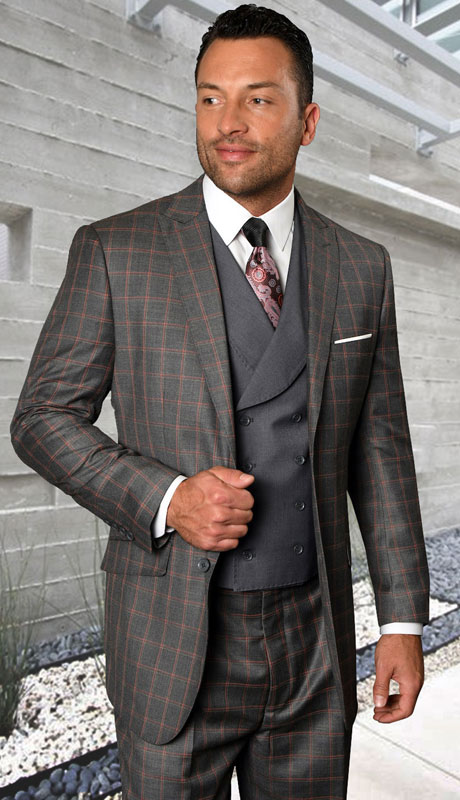 BEVERLY-CH ( 3pc Regular Fit Suit With Pleated Pants, Super 150's )