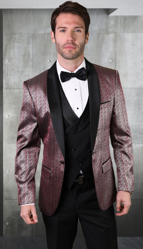 BELAGIO-BU ( 3pc Mens Tailored Fit Suit With Flat Front Pants And Bow Tie )