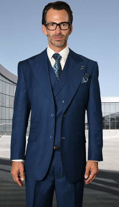 POSITANO-SA ( 3pc Regular Fit Suit With Pleated Pants, Super 150's )