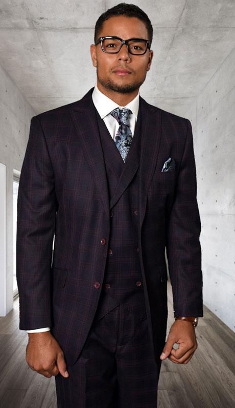 SIERRA-MI ( 3pc Regular Fit Suit With Pleated Pants, Super 150's )
