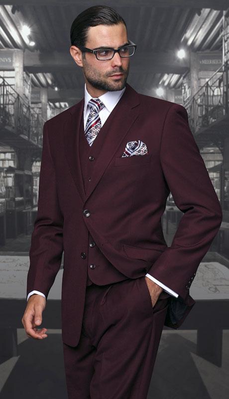 STZ-100-BU ( 3pc Regular Fit Suit With Pleated Pants, Super 150's )