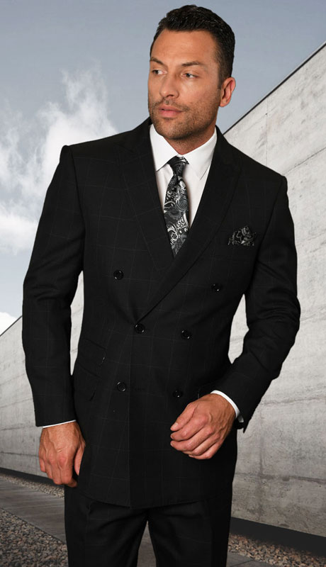 TZD-400-BL ( 2pc Double Breasted Suit With Pleated Pants, Super 150's )