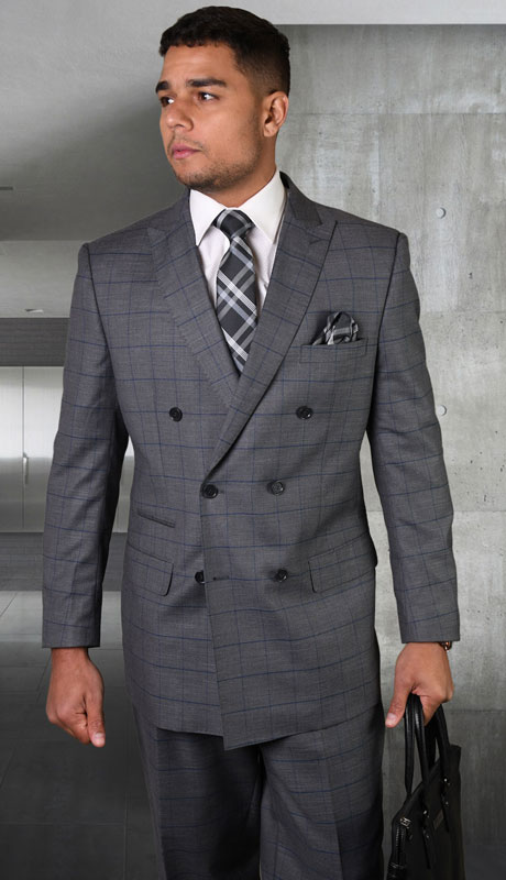 TZD-400-CH ( 2pc Double Breasted Suit With Pleated Pants, Super 150's )