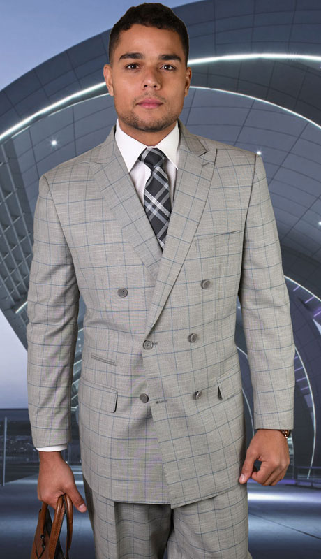 TZD-400-GR ( 2pc Double Breasted Suit With Pleated Pants, Super 150's )