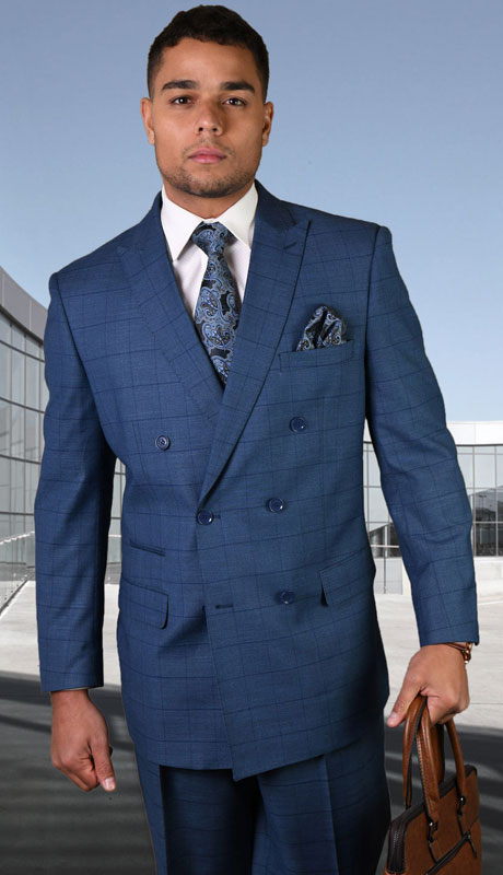 TZD-400-IN ( 2pc Double Breasted Suit With Pleated Pants, Super 150's )