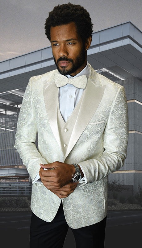 BELAGIO-OW ( 3pc Mens Statement Suit With Slim Fit Flat Front Pants And Bow Tie )
