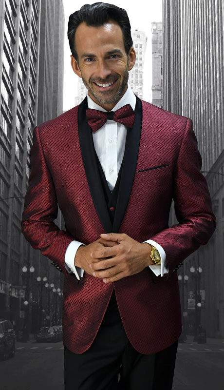 BELAGIO-BU ( 3pc Mens Statement Suit With Slim Fit Flat Front Pants And Bow Tie )