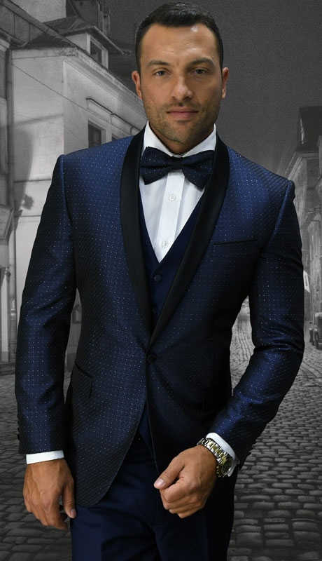 BELAGIO-NA ( 3pc Mens Statement Suit With Slim Fit Flat Front Pants And Bow Tie )