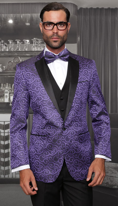 BELAGIO-PU ( 3pc Mens Statement Suit With Slim Fit Flat Front Pants And Bow Tie )