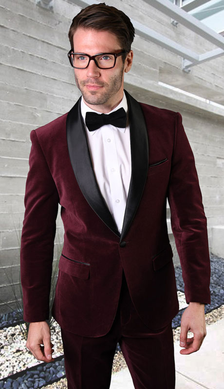 VL-100-BU ( 2pc Velvet Suit With Fit Flat Front Pants And Bow Tie )