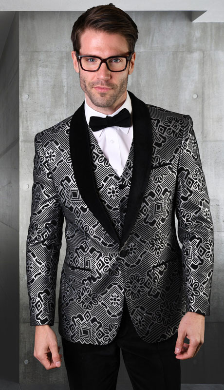 VL-101-BL ( 3pc Tailored Suit With Fit Flat Front Pants And Bow Tie )