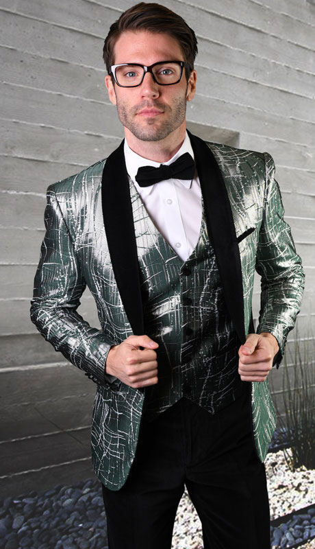 VL-102-HU ( 3pc Tailored Suit With Fit Flat Front Pants And Bow Tie )