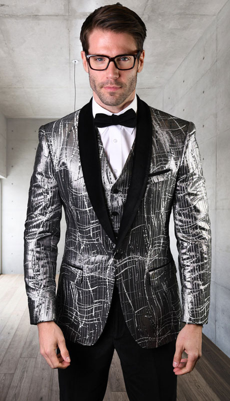 VL-102-SI ( 3pc Tailored Suit With Fit Flat Front Pants And Bow Tie )