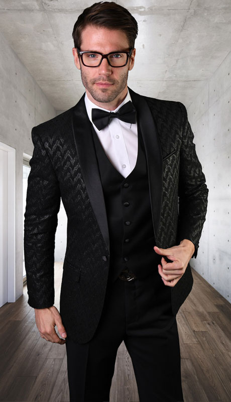 VL-103-BL ( 3pc Tailored Suit With Fit Flat Front Pants And Bow Tie )