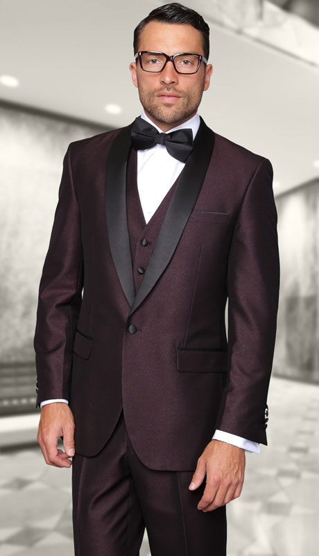 ENZO-1-PL ( 3pc Tailored Suit With Fit Flat Front Pants And Bow Tie )