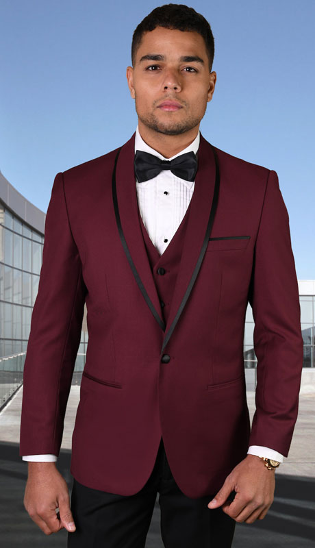 GENOVA-BU ( 3pc Tailored Suit With Fit Flat Front Pants And Bow Tie )