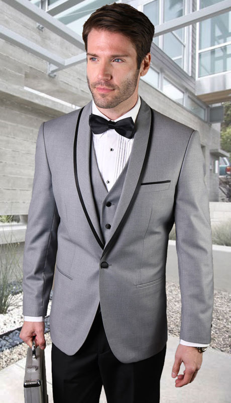 GENOVA-GR ( 3pc Tailored Suit With Fit Flat Front Pants And Bow Tie )
