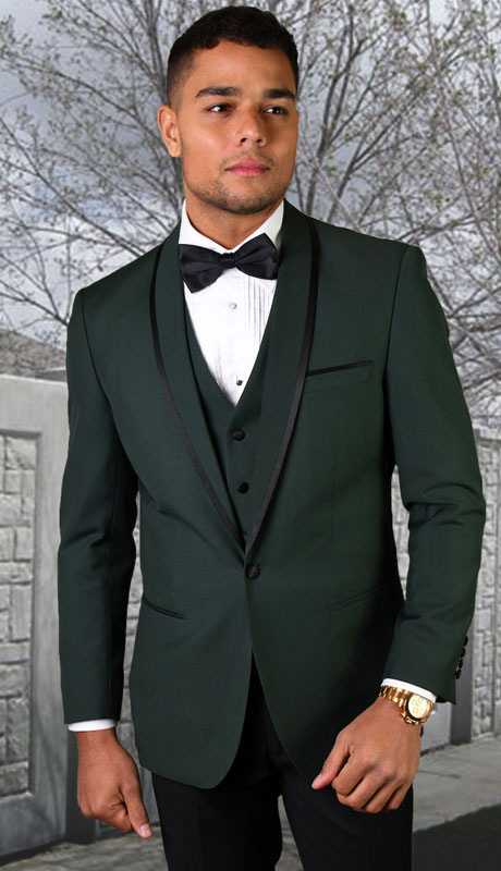 GENOVA-HU ( 3pc Tailored Suit With Fit Flat Front Pants And Bow Tie )