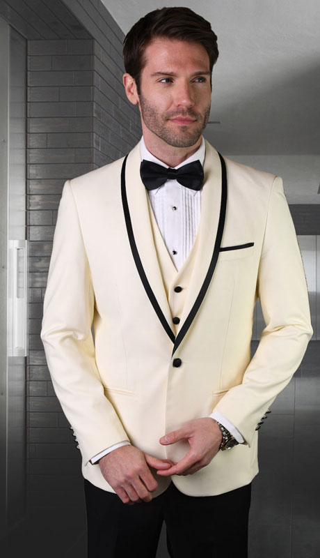 GENOVA-OW ( 3pc Tailored Suit With Fit Flat Front Pants And Bow Tie )