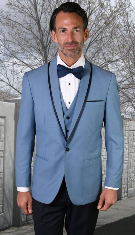 GENOVA-SB ( 3pc Tailored Suit With Fit Flat Front Pants And Bow Tie )