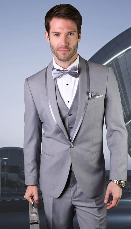 CAESER-GR ( 3pc Tailored Suit With Fit Flat Front Pants And Bow Tie )