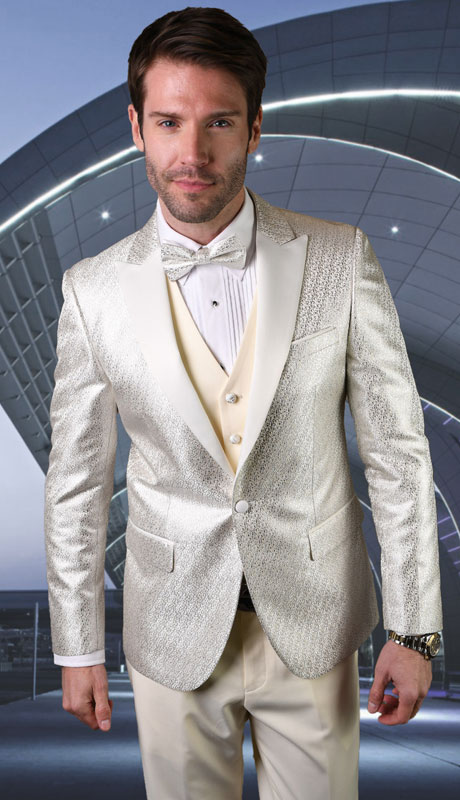 BELAGIO-OW ( 3pc Mens Statement Suit, Flat Front PantsWith Bow Tie )
