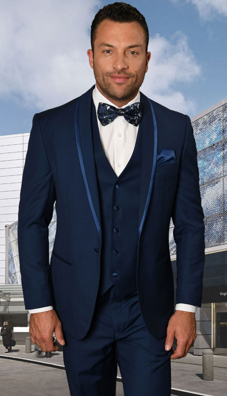CAESER-SA ( 3pc Tailored Suit With Fit Flat Front Pants And Bow Tie )