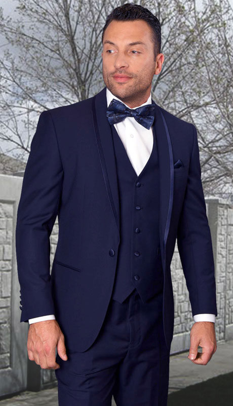 CAESER-NA ( 3pc Tailored Suit With Fit Flat Front Pants And Bow Tie )