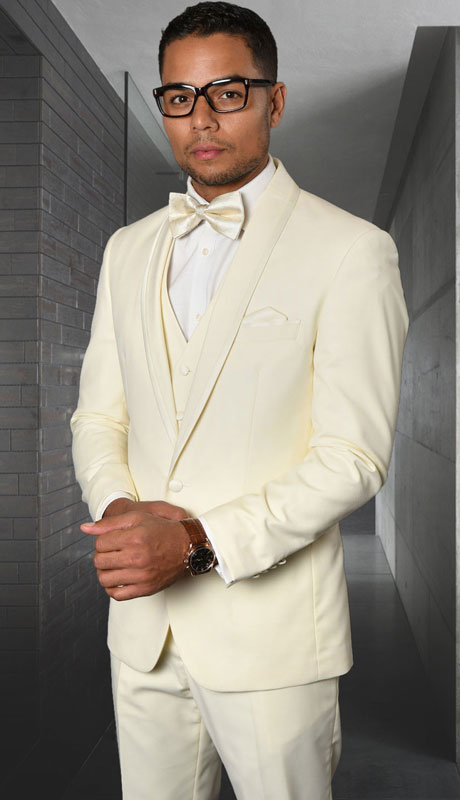 CAESER-OW ( 3pc Tailored Suit With Fit Flat Front Pants And Bow Tie )