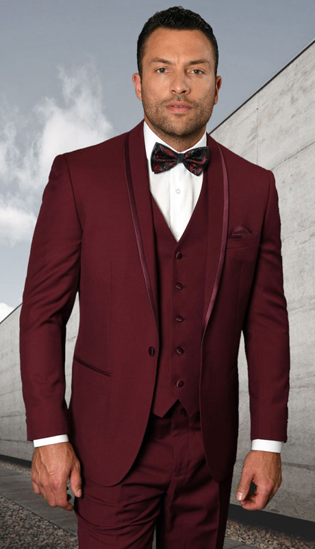 CAESER-BU ( 3pc Tailored Suit With Fit Flat Front Pants And Bow Tie )