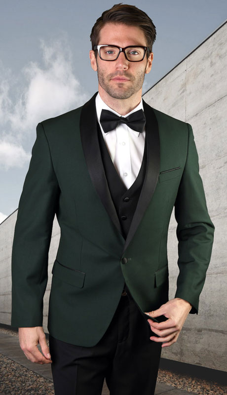 ENCORE-HU ( 3pc Tailored Suit With Fit Flat Front Pants And Bow Tie )