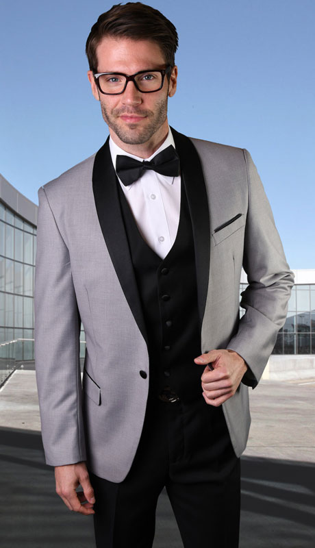 ENCORE-GR-CO ( 3pc Tailored Suit With Fit Flat Front Pants And Bow Tie )