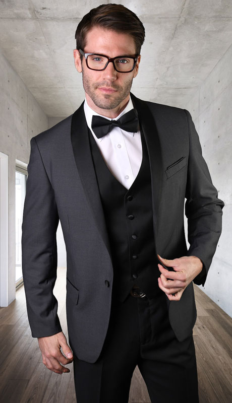 ENCORE-CH ( 3pc Tailored Suit With Fit Flat Front Pants And Bow Tie )