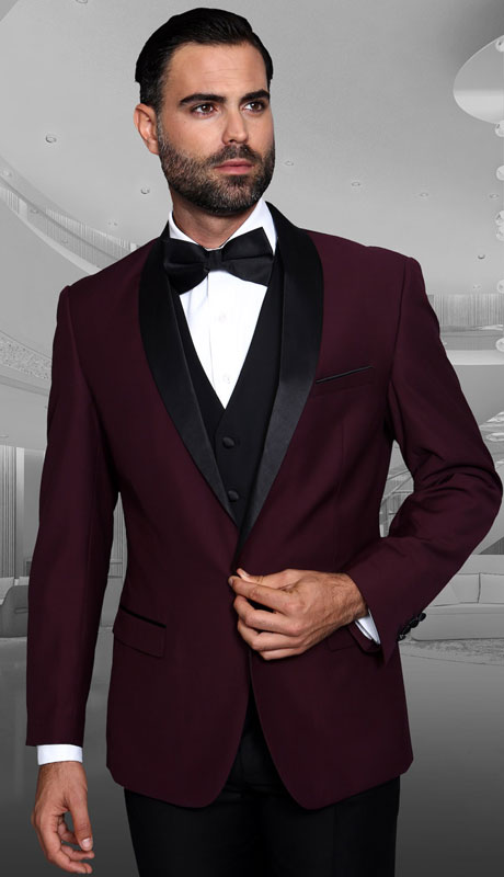 ENCORE-BU ( 3pc Tailored Suit With Fit Flat Front Pants And Bow Tie )