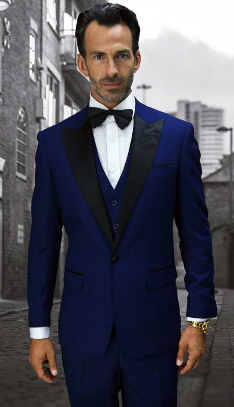 ALBERTO-SA ( 3pc Tailored Suit With Fit Flat Front Pants And Bow Tie )