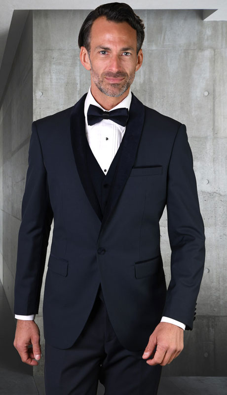 ENCORE-V-NA ( 3pc Tailored Suit With Fit Flat Front Pants And Bow Tie )
