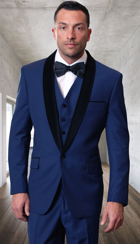 ENCORE-V-SA ( 3pc Tailored Suit With Fit Flat Front Pants And Bow Tie )