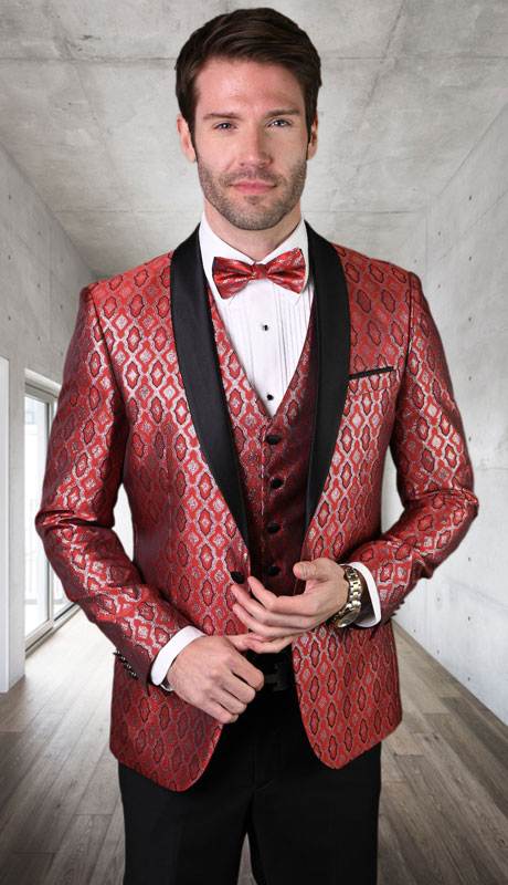 BELAGIO-RE ( 3pc Mens Statement Suit, Flat Front PantsWith Bow Tie )
