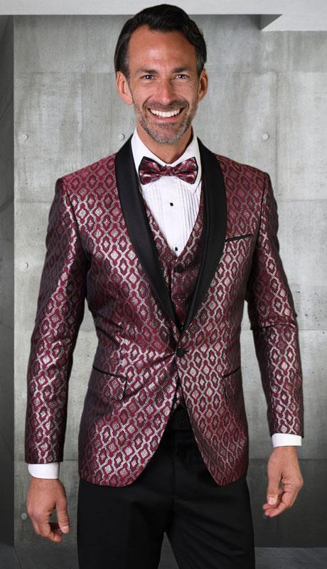 BELAGIO-BU ( 3pc Mens Statement Suit, Flat Front PantsWith Bow Tie )