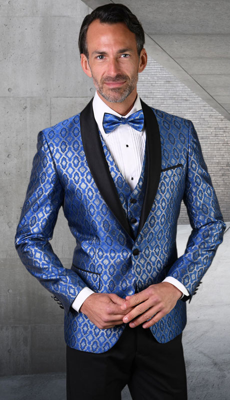 BELAGIO-RO ( 3pc Mens Statement Suit, Flat Front PantsWith Bow Tie )